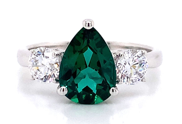 9ct White Gold Lab Created Emerald & Cubic Zirconia Ring