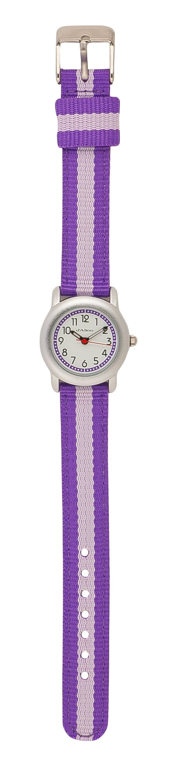 Q & Q Girls Purple & Baby Pink Strip Material Strap Watch