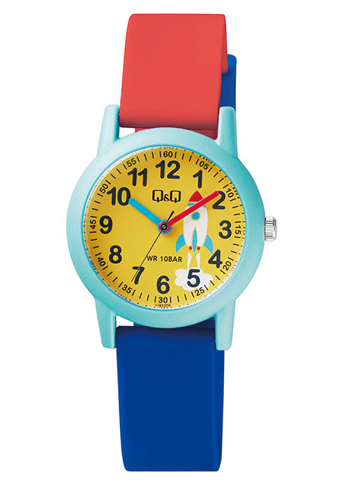 Q & Q Boys Blue And Red Rocket Watch With Silicone Strap
