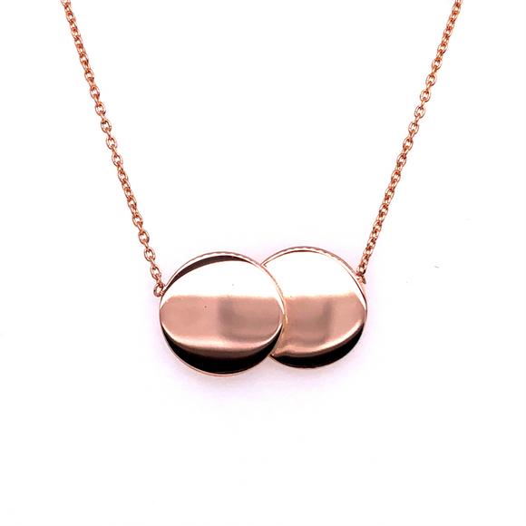 9ct Rose Gold Double Disc