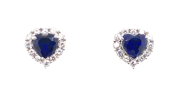 Sterling Silver Sapphire And Cz Heart Earrings