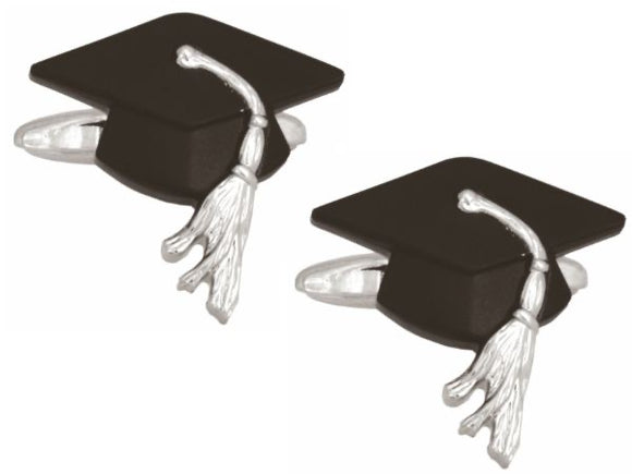 Graduation Cap Rhodium Plated Cufflinks 90-1415