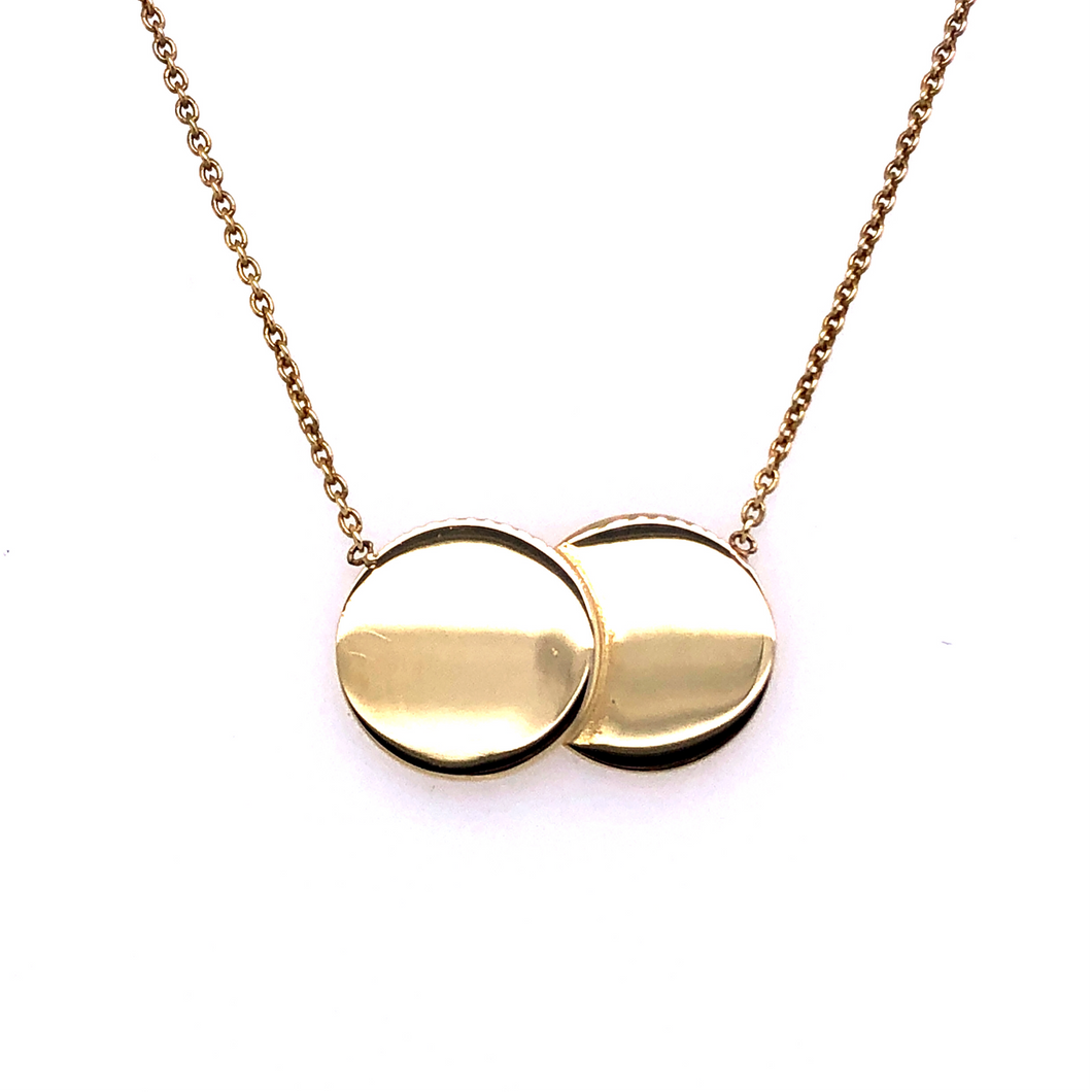 9ct Yellow Gold Double Disc