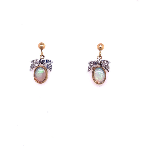 9ct Gold Best Opal & Diamond Drop Earrings