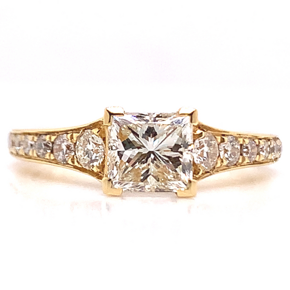 18ct Yellow Gold Princess Cut Pave Shank Diamond Engagement Ring