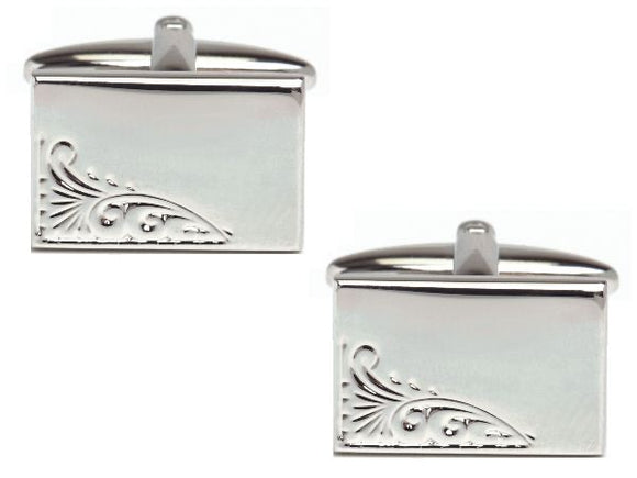 Rectangular Engraved Leaf Design Rhodium Plate Cufflinks