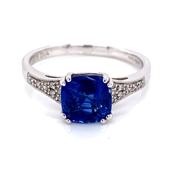 Cushion cut Kyanite with Tapered White Gold & Diamond Mount .