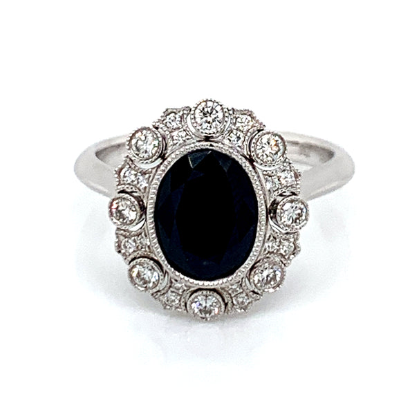 1.89ct Oval Sapphire with Vintage Style Diamond Surround
