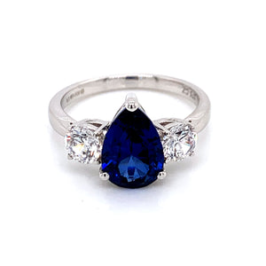 9ct White Gold Cubic Zirconia & Lab Created Sapphire Ring