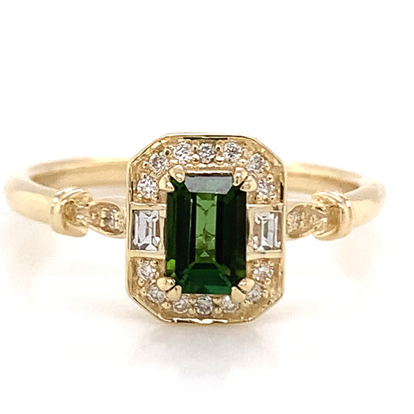 .60ct Emerald Cut Green Tourmaline Ring with White Sapphire & Diamond Gold Mounting.