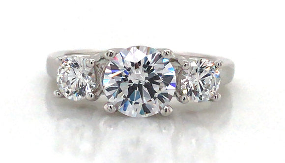 Sterling Silver Three Stone Cz Ring
