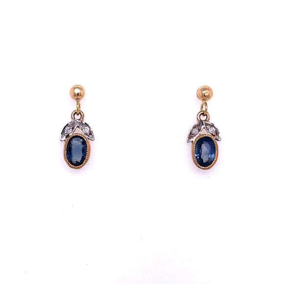 9ct Gold Kanchanaburi Sapphire & Diamond Drop Earrings