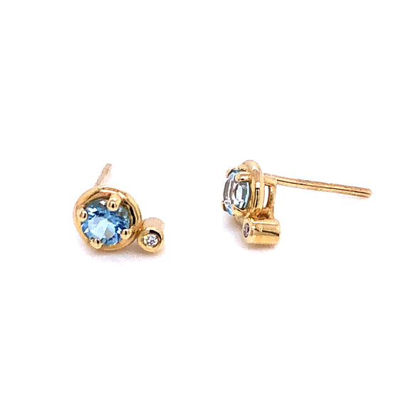Anma 14ct Gold Aquamarine & Diamond Earrings