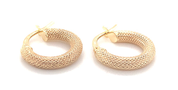 9CT YELLOW GOLD 3MM TUBE 15MM DIAMOND CUT TEXTURED-ROUND-HOOP CREOLE EARRINGS
