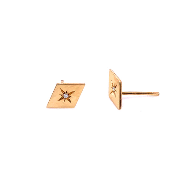 Anma 14ct Gold Diamond Shape Flat Stud With Diamond Earrings