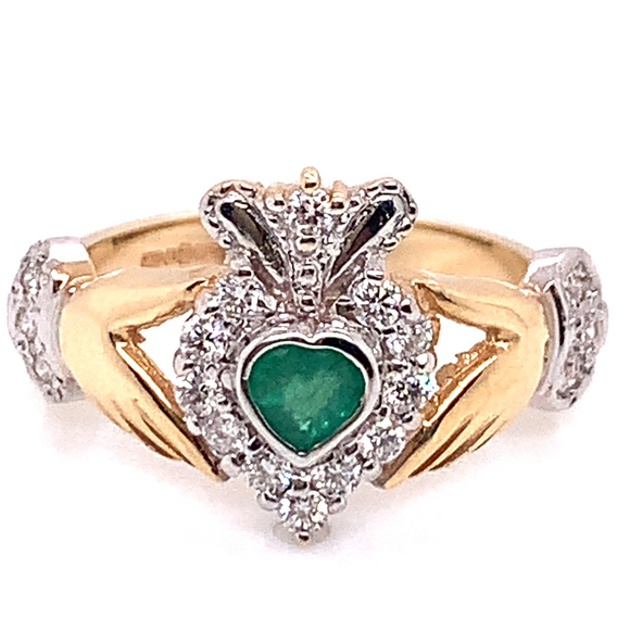 14ct Two-Tone Yellow & White Gold Emerald & Diamond Claddagh Ring
