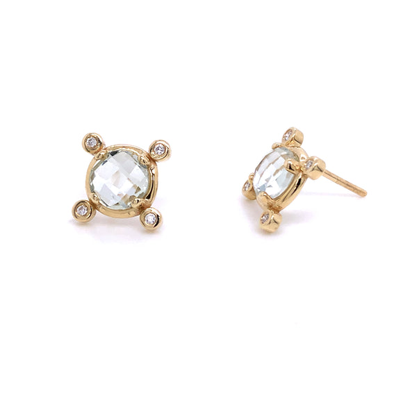 Anma 14ct Gold Green Amethyst & Diamond Earrings