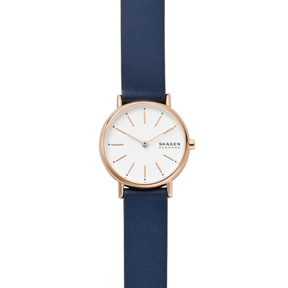 Skagen Signatur Two-Hand Blue Leather Watch SKW2838