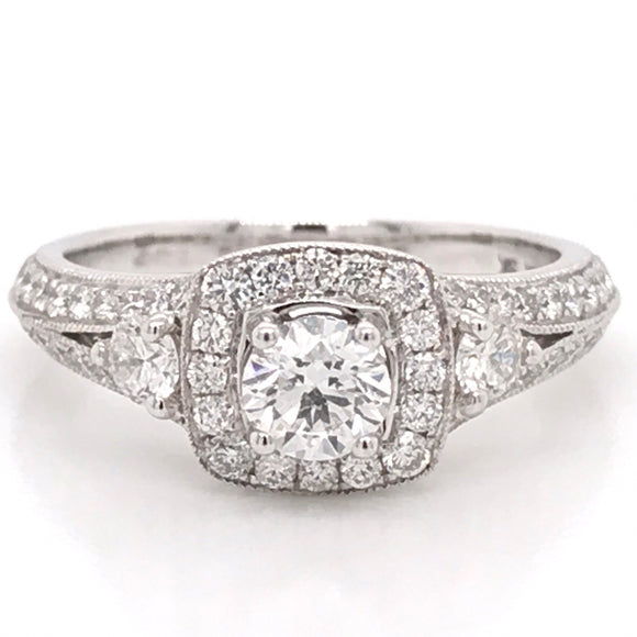 18ct White Gold Split Shank Cushion Halo Diamond Engagement Ring