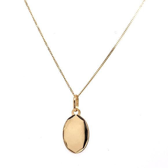 Oval carved edge Engravable pendant 9ct Gold
