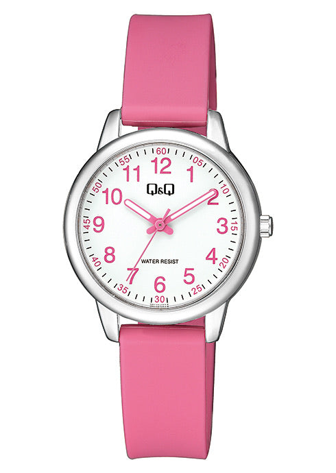 Q & Q Girls Pink Silicone Strap Watch