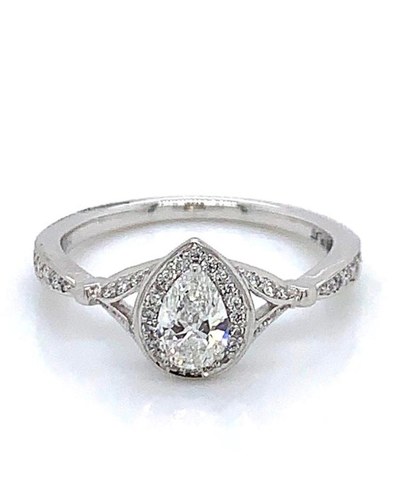 Platinum Pear Halo Diamond Ring