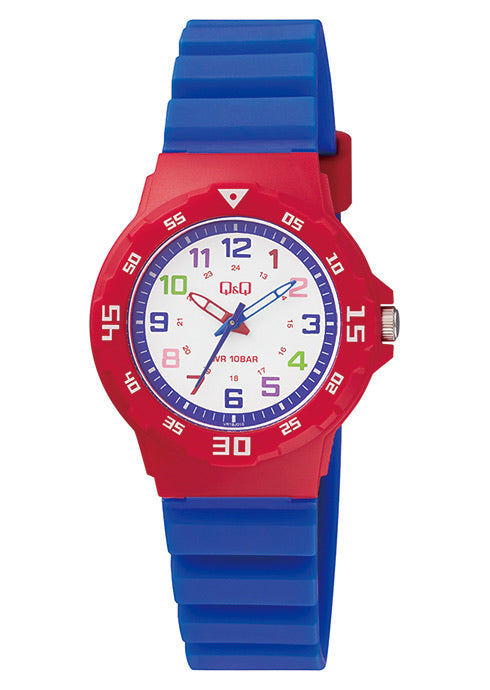 Q & Q Boys Blue And Red Silicone Strap Watch