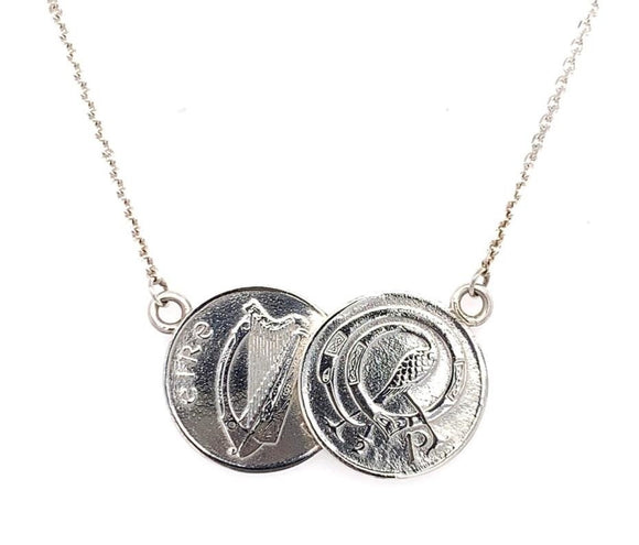 Tadgh Óg Solid Sterling Silver Double Haypenny Irish Coin Pendant