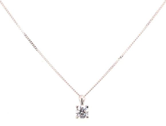 9ct White Gold Round Cz 4mm X 7mm Pendant