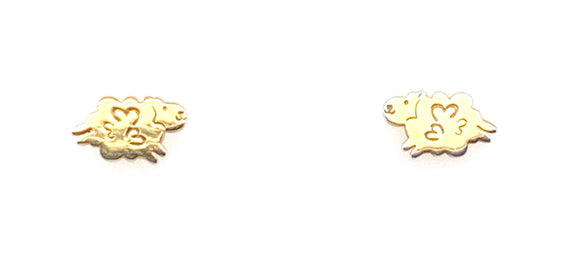 Sterling Silver With Gold Plating Sheep Stud Earrings