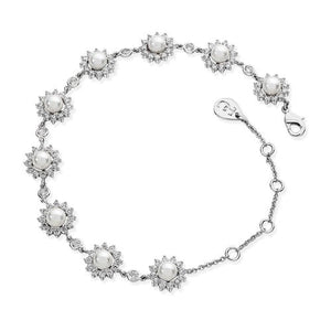 Tipperary Crystal Silver Antique Daisy Pearl Bracelet 117822
