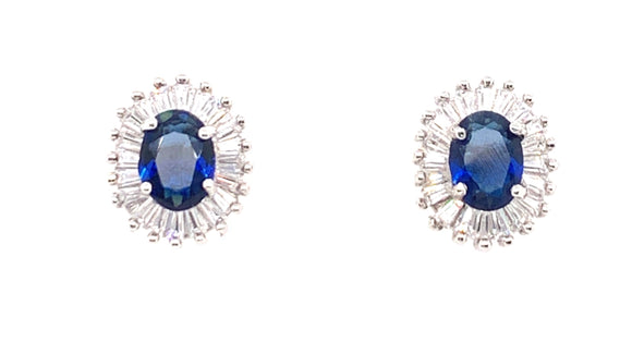 Sterling Silver Sapphire And Cz Earring