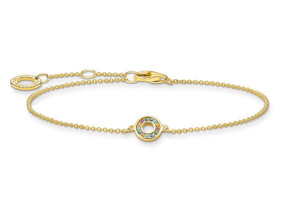 Thomas Sabo Gold Plated Bracelet With Colourful Stones