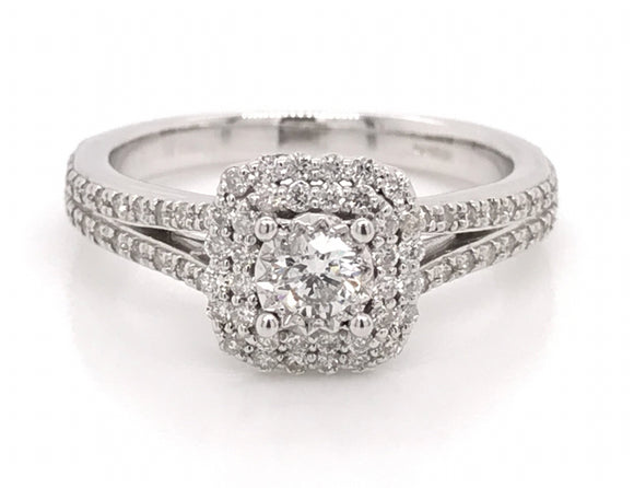 Round Brilliant cut centre stone with double halo Diamond Engagement Ring