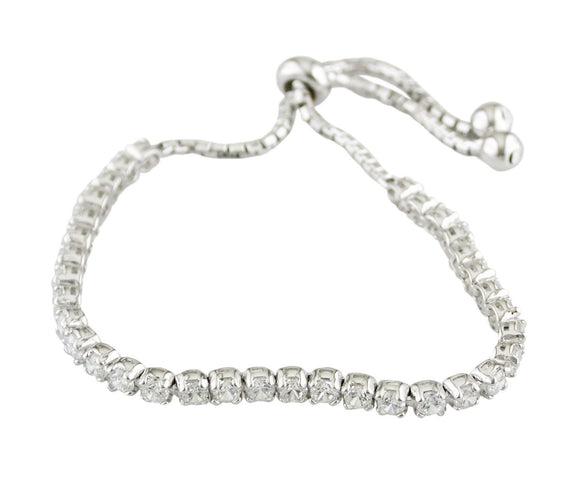 Sterling Silver Cz Rubover Tennis Toggle Bracelet
