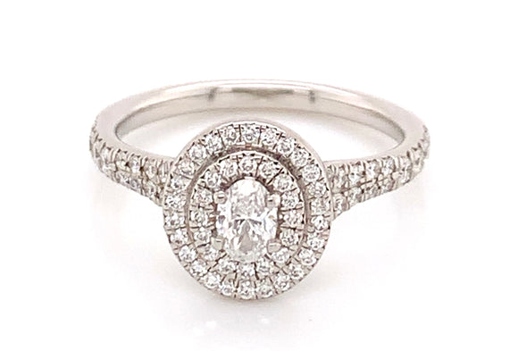 Platinum Oval Double Halo Diamond Ring With Castle Set Diamond Shoulders