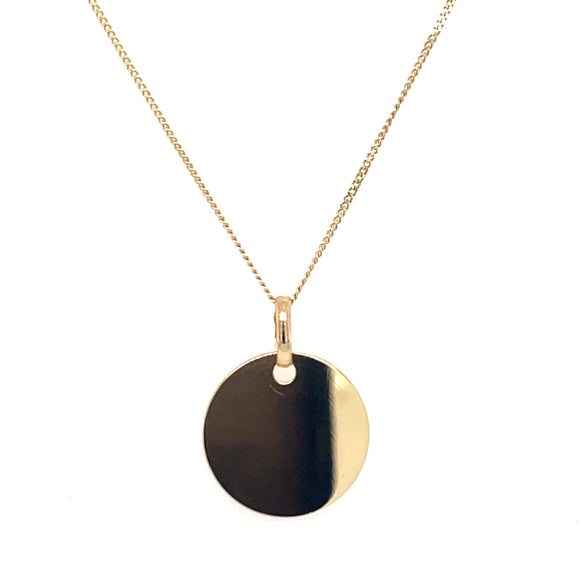 9ct Yellow Gold Engravable Disc Pendant