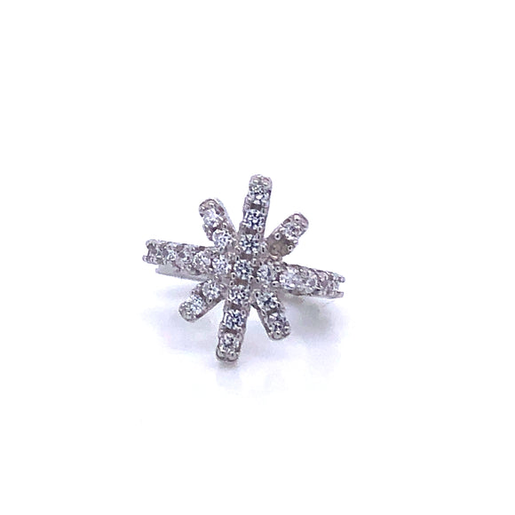 Sterling Silver Cz North Star Ear Cuff