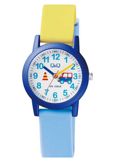 Q & Q Boys Yellow And Blue Truck Silicone Strap Watch