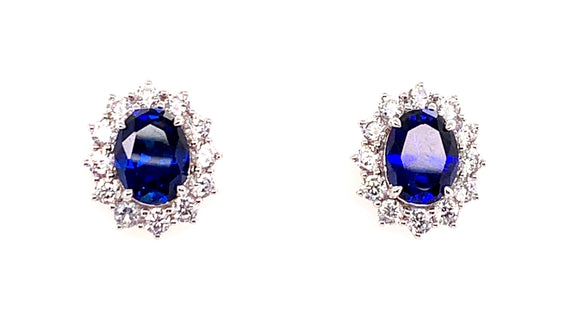 9ct White Gold Princess Di Sapphire And Cz Stud Earrings