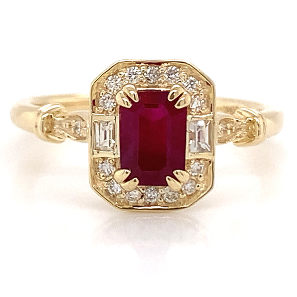 Emerald cut .70ct Ruby in Diamond & White Sapphire Vintage Style Mounting