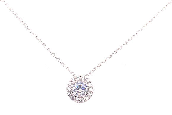 Tipperary Crystal Silver Cz Halo Pendant