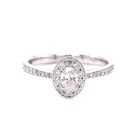 9ct White Gold Pave Set Oval Halo