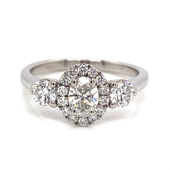 Platinum Oval Halo with Side Diamonds