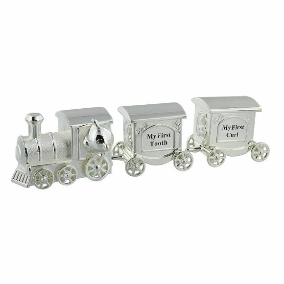 Silver Plated Teddy Train With First Tooth And First Curl Carriage