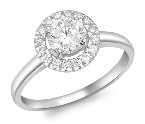 9ct White Gold Round Cz Cluster Ring