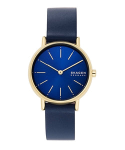 Skagen Signatur Blue Leather Strap Watch SKW2867