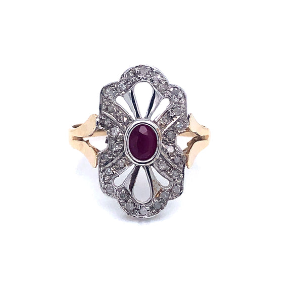 9ct Gold Ruby & Diamond vintage style ring