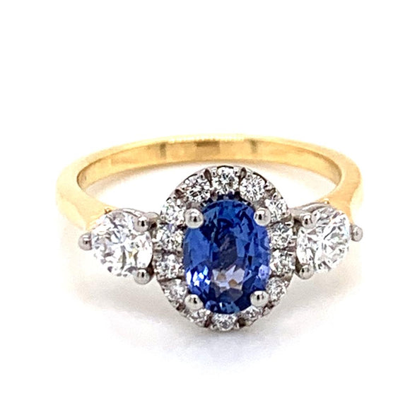 18ct Yellow Gold Oval Sapphire Trio Diamond Engagement Ring