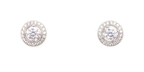 Sterling Silver Cz Halo Stud Earrings Meduim